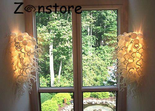 Fantazyjne Ciepłe Szkło Sztuki Okno Wall Decor 100% Ręcznie Dmuchane Murano Szklana Ścianie Ścianie Światło LED Lampy Światło