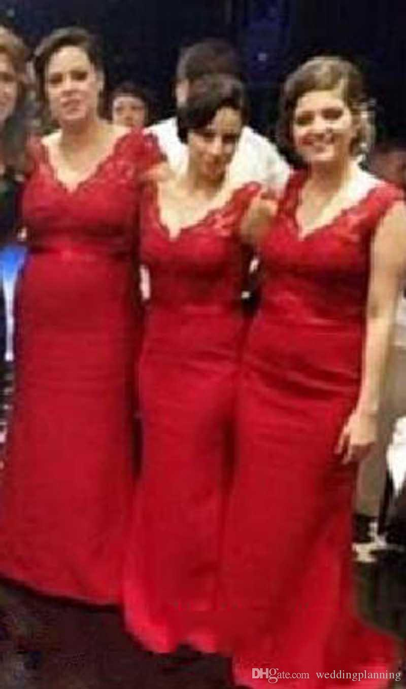 2017 fashion long red bridesmaid dresses cap sleeve v neck lace 2017 fashion long red bridesmaid dresses cap sleeve v neck lace satin floor length sheath ombrellifo Choice Image