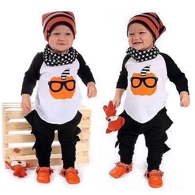Otoño moda bebé ropa ropa unisex 2 unids recién nacido niños bebé muchacho ropa calabaza camiseta tops + pantalones trajes conjunto 0-24m
