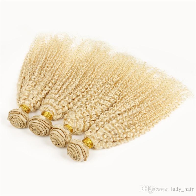 최고 품질의 버진 브라질의 곱슬 곱슬 금발의 인간의 머리카락 4pcs # 613 금발 브라질의 머리카락 번들 번식 곱슬 곱슬 더블 Wefts 확장