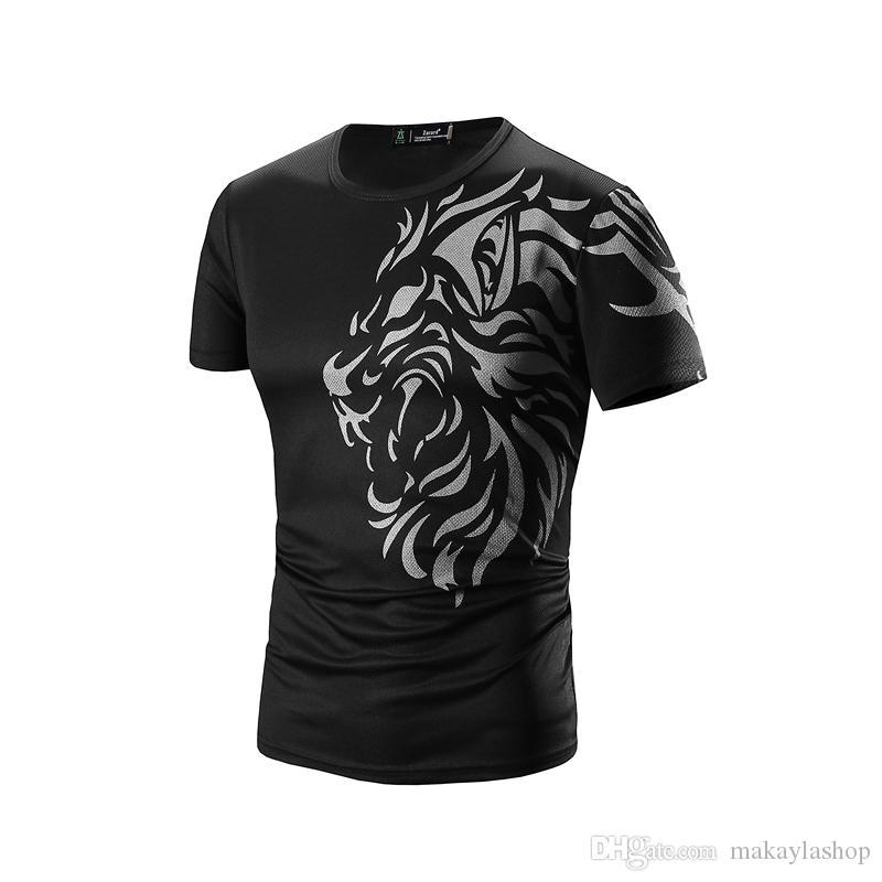 Camiseta Homens Marca de Manga Curta Hip Hop T-shirt Dos Homens Mens Tatuagem Impressão Casual Mens Engraçado Tshirt Magro Tee Tops 3XL