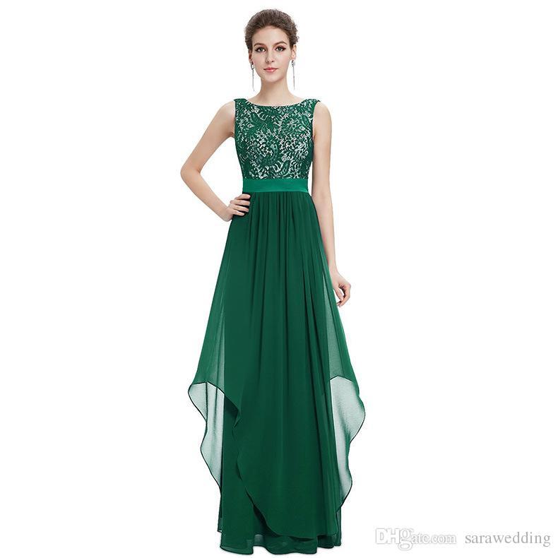 Bateau Pescoço Rendas Chiffon Uma Linha Longo Vestido de Noite V de Volta Vestidos de Noite Elegante Mãe Dos Vestidos de Noiva
