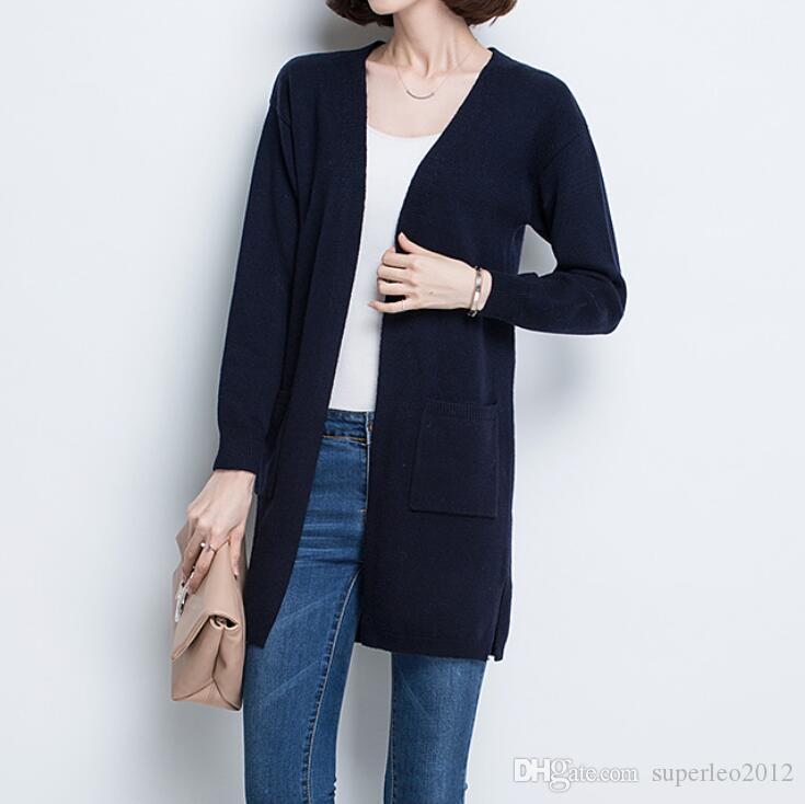 Женские длинные вязаные кардиганы с длинным рукавом V шеи длинным рукавом свитера с карманами свободные кардиганы повседневная Elegants вязать куртки DG