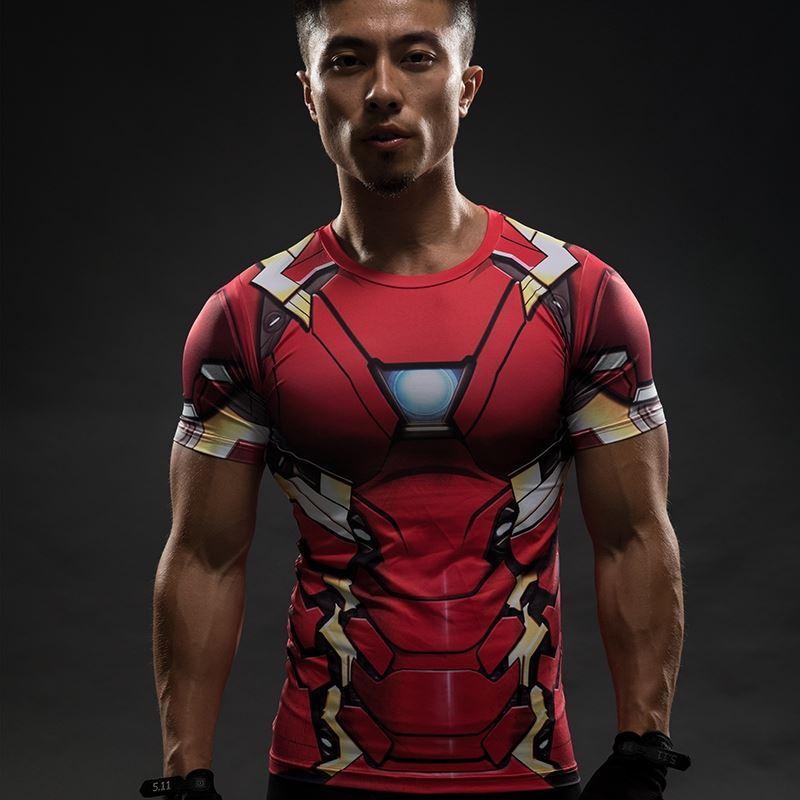 Iron Man Compression Shirt Captain America 3D Imprimé Mens Designer T-shirts Hommes Avengers 3 À Manches Courtes Slim Fitness S-4XL Vêtements