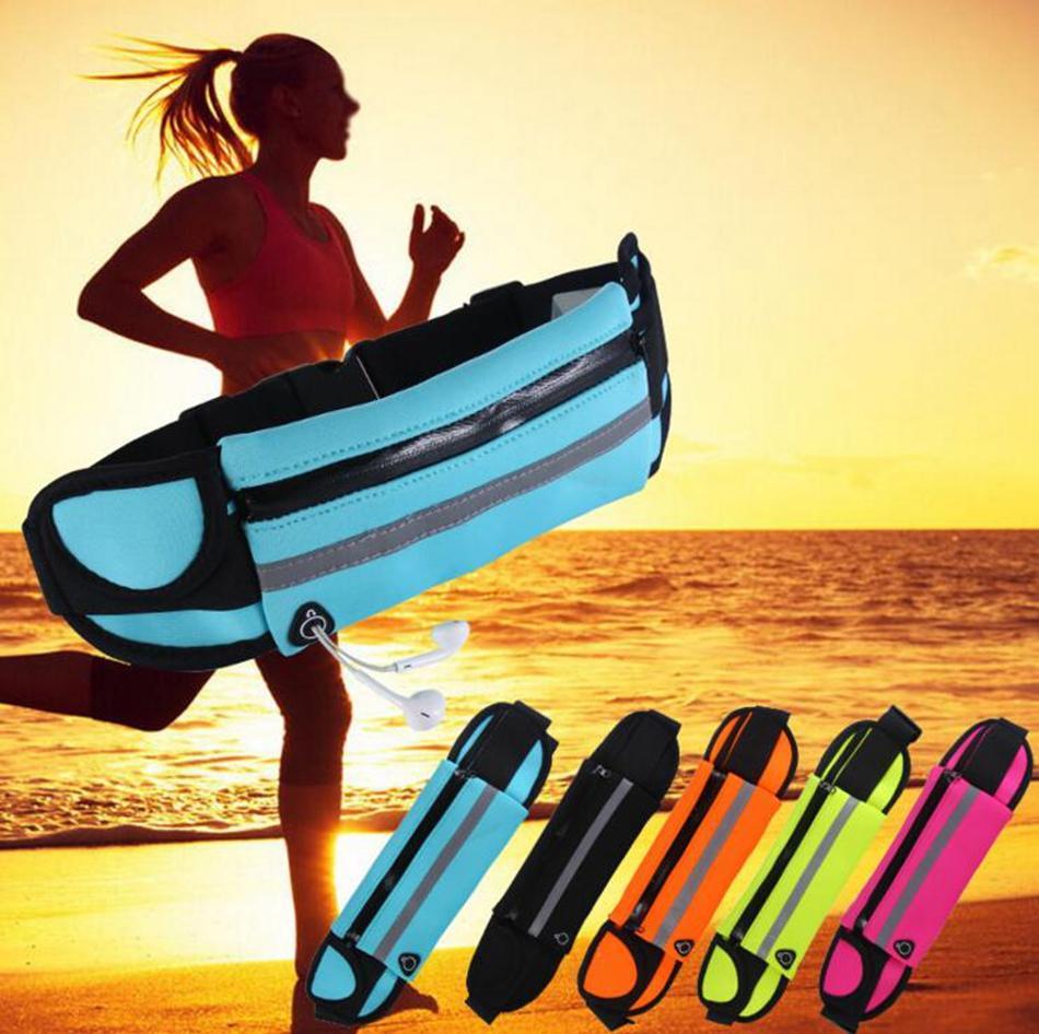 Waterproof Sport Runner Waist Bum Bag Running Jogging Belt Pouch Zip Fanny Pack Fitness Packs 50pcs OOA3757