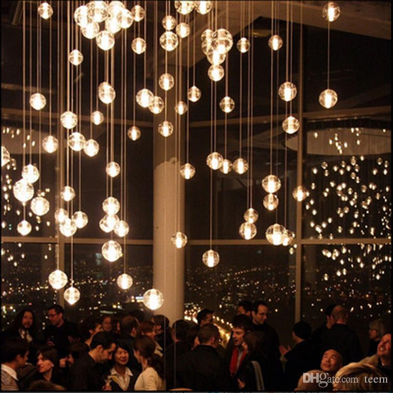 Modern LED Crystal Glass Chandeliers Pendant Lights for Stairs Duplex Hotel Hall Mall with Dimmable G4 Bulbs DIY Ceiling Lighting