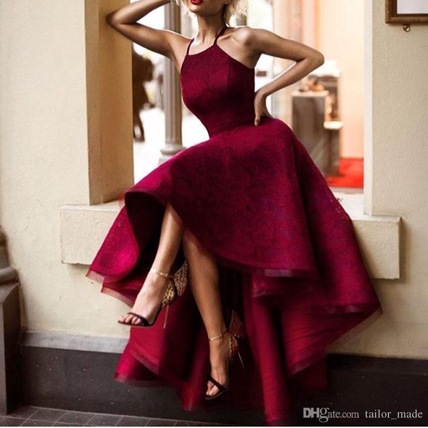 2019 Envío gratis Borgoña Borgoña Vestidos de noche Color Halter sin mangas Lace Short Frontal Atrás Vestidos de fiesta sexy