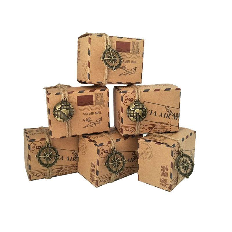 100 pcs Vintage Faveurs Kraft Papier Boîte à bonbons Voyage Thème Voyage Avion Air Mail Emballage Cadeau Boîte Souvenirs De Mariage scatole regalo