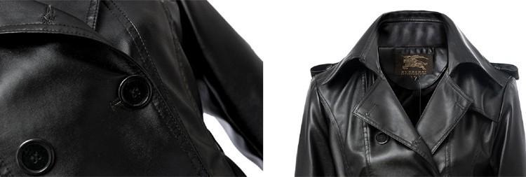 Acheter 2016 Vente Chaude Longue Veste En Cuir Femme Double Breasted Avec Ceinture Style Européen Marque Faux Cuir Veste Nouvelle Arrivée GQ1261 De