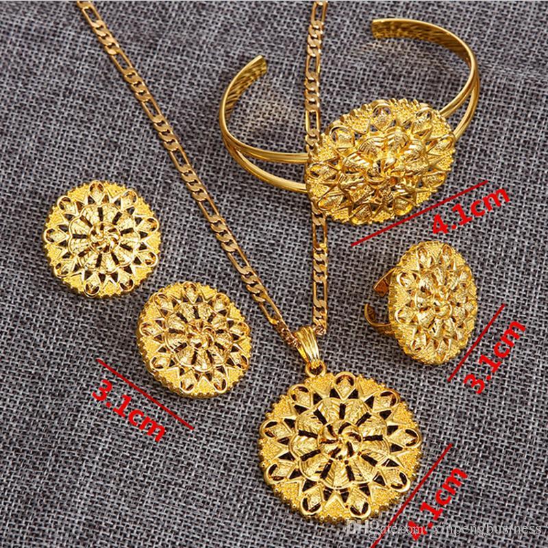 Эфиопский изысканный набор украшений блин блин 24К настоящий желтый твердый золотой GF кулон цепь серьги кольцо браслет большой цветочный ювелирные изделия Эритрея хабеша wedd