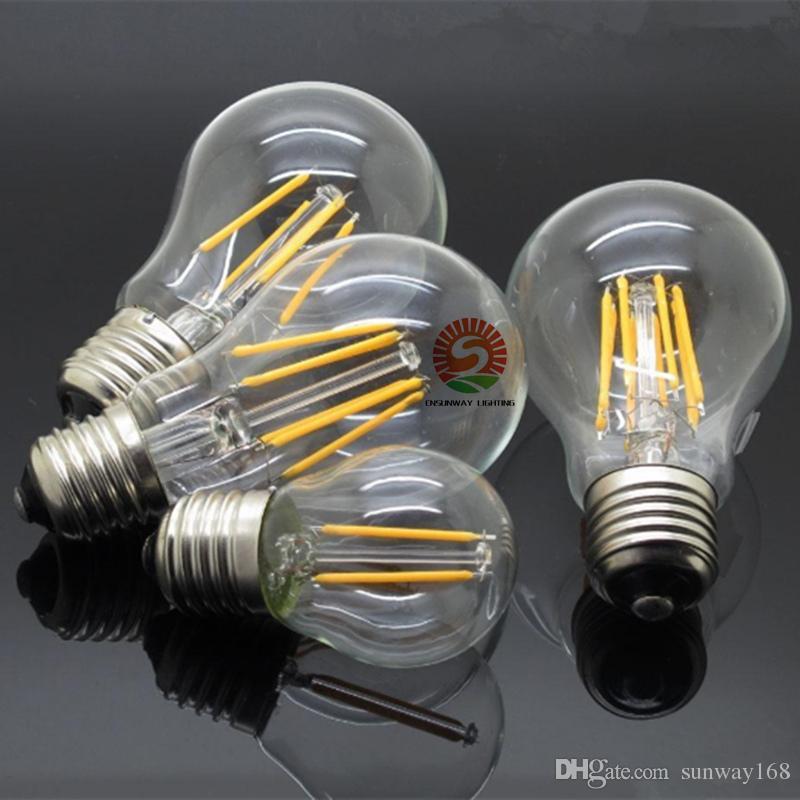 filament led a60 bulbs 8w 6w dimmable E27 E26 B22 360 Angle Led Lights Edison Lamp 110LM/W AC85~265V