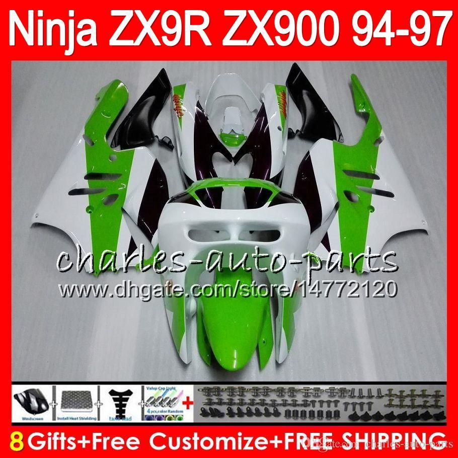 8Gifts 23Colors For KAWASAKI ZX 9 R ZX9R 94 95 96 97 900CC 49HM6 Green white ZX 9R ZX900 ZX900C ZX-9R 1994 1995 1996 1997 Fairing kit