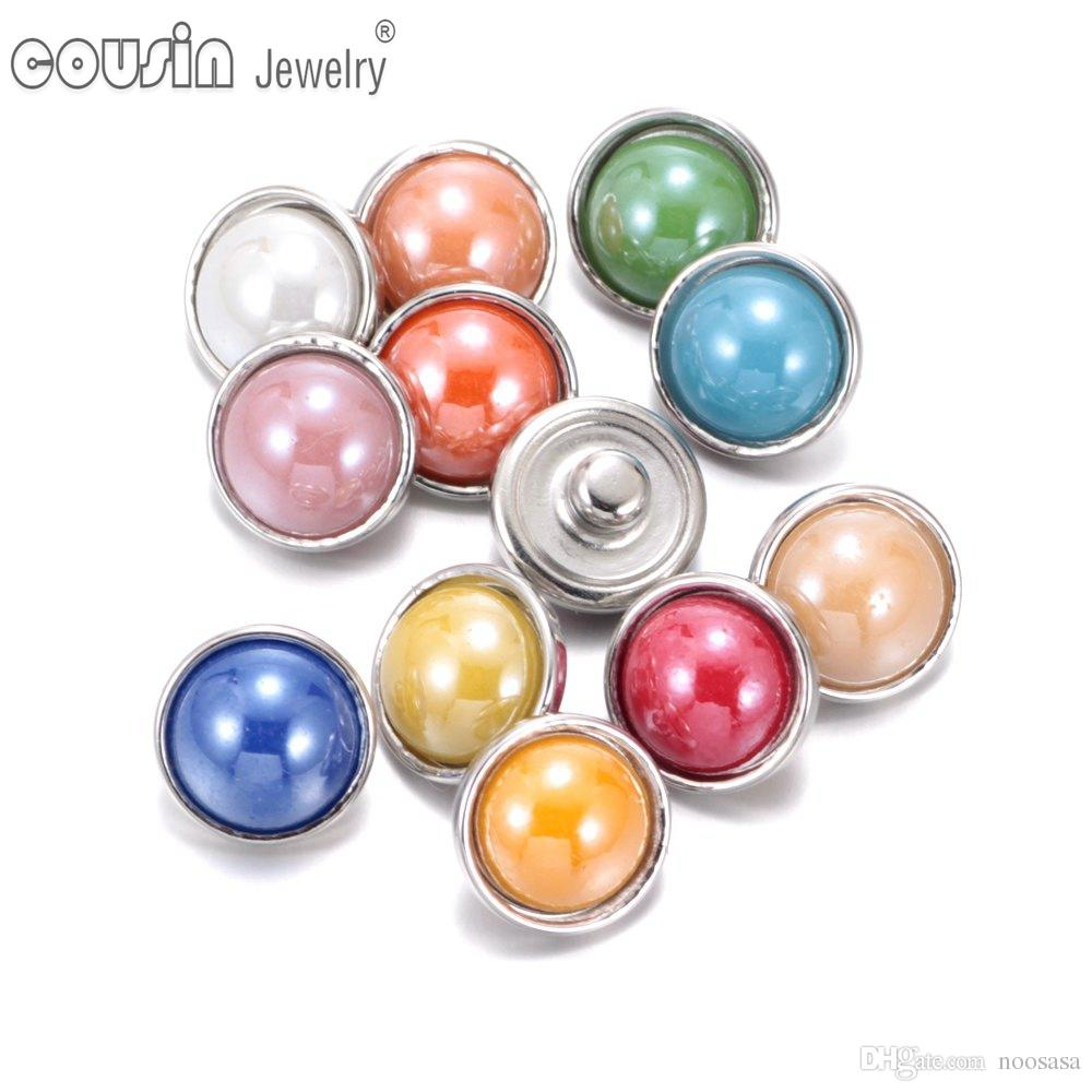 KZ0328 10pcs/lot Mixed Colors Pearl 12mm Snap Button Jewelry Faceted Glass Snap Fit DIY Bracelet Interchangeable Ginger Snaps Jewelry