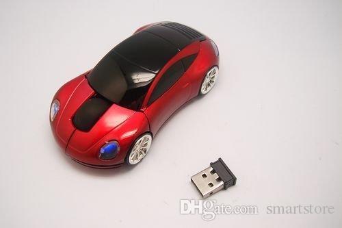 30pcs / lot # USB Mouse ottico senza fili di forma dell'automobile 10M 2 topi bianchi rossi blu FEDEX Trasporto libero 0001
