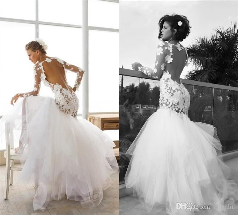2019 Sexy Lace Appliques Wedding Dresses Backless Long Sleeves Vintage Mermaid Jewel Neck Wedding Gowns Bridal Gowns with Tiered Skirts