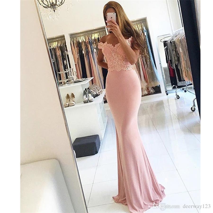 Abiti da festa di nozze Pink Sweetheart Appliqued Lace Beaded Short Sleeve Off the Shoulder Mermaid Abiti da damigella d'onore