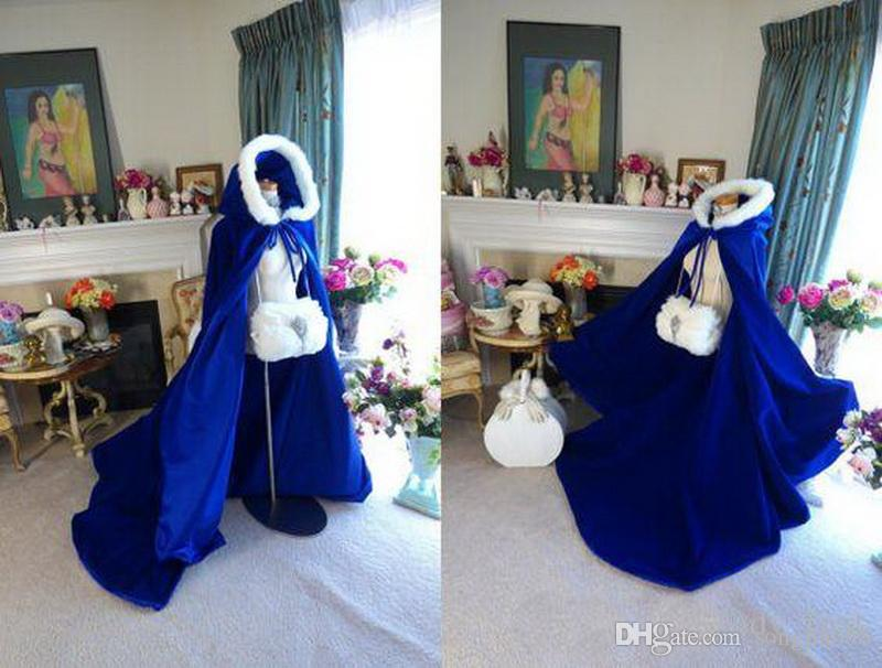 2020 Cheap Navy Blue Winter Bridal Cape Faux Fur Christmas Cloaks Jackets Hooded For Winter Wedding Bridal Wraps For Wedding Dresses