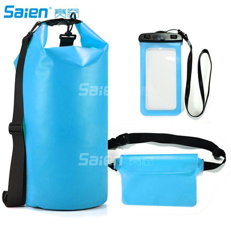 Водонепроницаемые сухие сухие пакеты 10L - с замком уплотнения, съемным наплечным ремнем, чехол для телефона талии / можно погружено в воду
