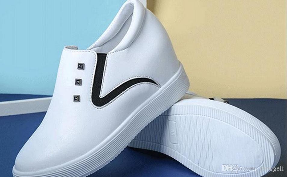 2017 a e alta in pelle PU grande colore base con scarpe pigri single per il tempo libero Aumentare le scarpe da donna