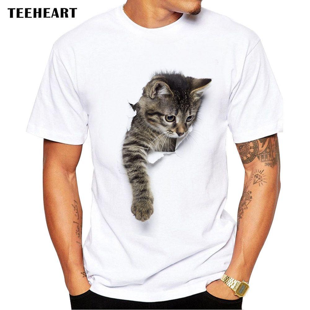 Wholesale- TEEHEART 3D Cute Cat T-shirts Women Summer Tops Tees Print Animal T shirt Men o-neck short sleeve Fashion Tshirts Plus Size