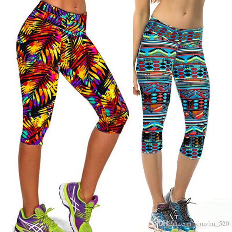 Pantaloni Capris Casual Leggings da donna Pantaloni Plus Size Pantaloni da donna Leggings sportivi Elastic Slim stampati