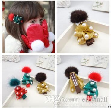 Christmas hair new Cute girls hairpin hairball Christmas bow pearl tree hairpin three colors green red yellow you will like them