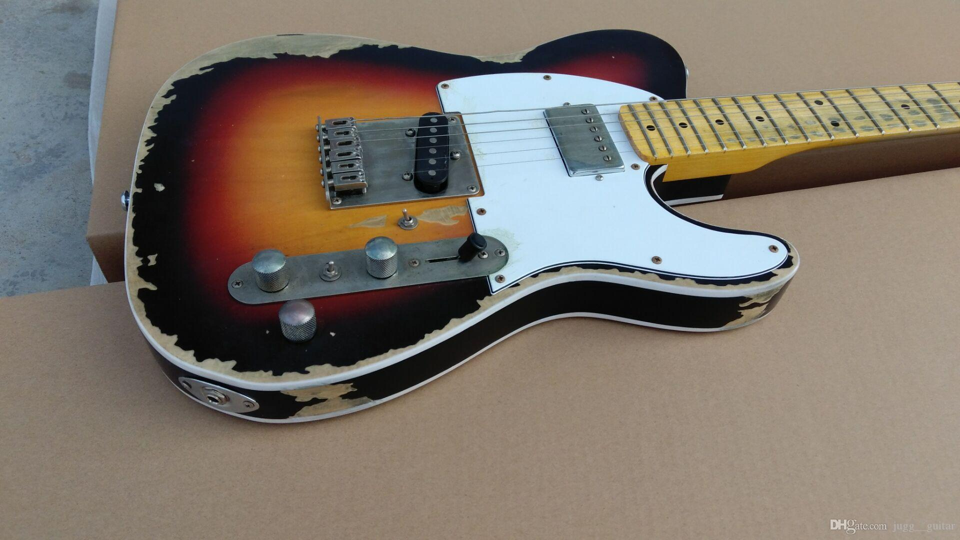 Negozio personalizzato MasterBuilt Guitar Andy Summers Heavy Relic 3 Tone Sunburst TL Guitars Electric Guitars invecchiato, Inlay Dot Black Dot, Sintonizzatori vintage