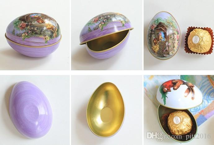 100pcs/lot Zakka Mini Tin box Easter Egg shaped mixed pattern wedding candy box Free shipping