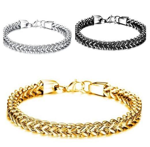 2017 حار بيع المجوهرات 316l الفولاذ الصلب الأزياء الهيب هوب المرأة رجل ساحة فيجارو سلسلة سوار الفضة / الذهب / أسود 6 ملليمتر 8.66 بوصة