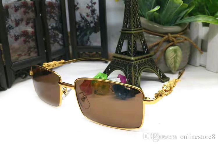 Hombres Rectángulo Retro Gafas de sol Marca para Caja Gafas de sol Aleación Lujo Leopardo de oro con diseñador Marcas tridimensionales Mujeres y logo Dadt
