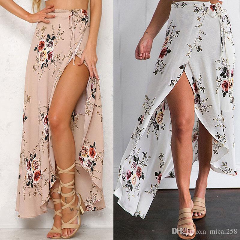 Womens Chiffon Split High Waist Beach Wrap Maxi Split Skirt Summer Long Dress