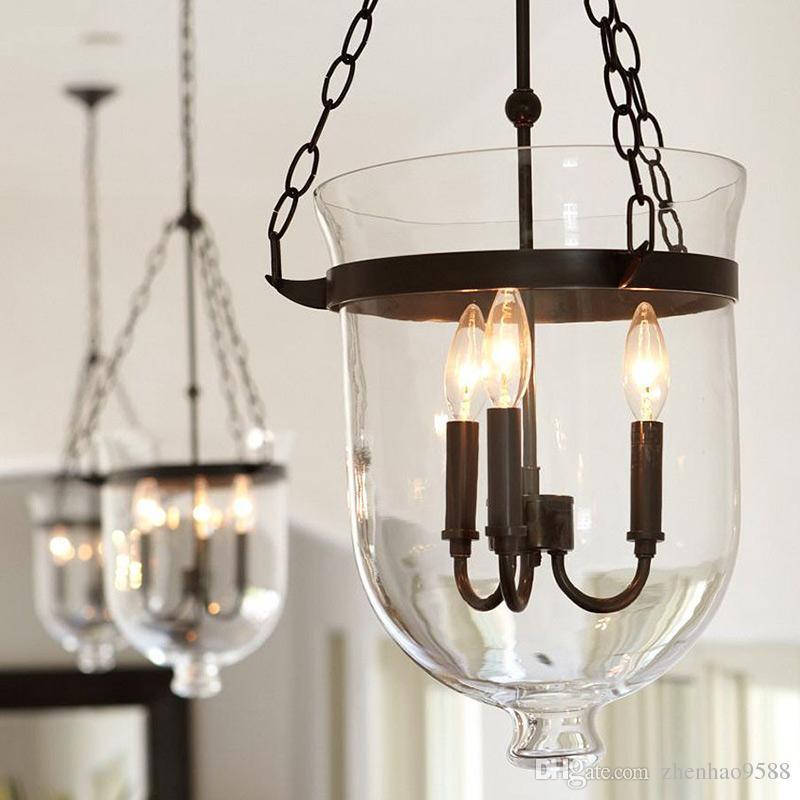 lmparas colgantes vintage retro american country loft hierro colgante luz de cristal bar cubo almacn e