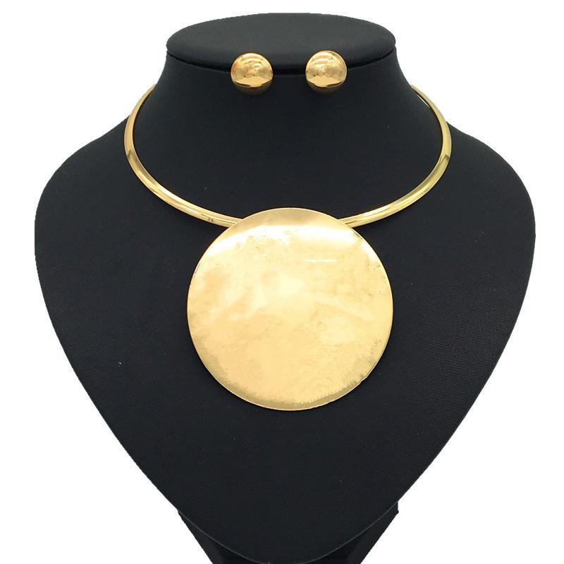 XD084 Conjunto de collar de novia nigeriano con conjunto de pendiente de collar colgante redondo de aleación Conjunto de joyería de boda para mujeres al por mayor