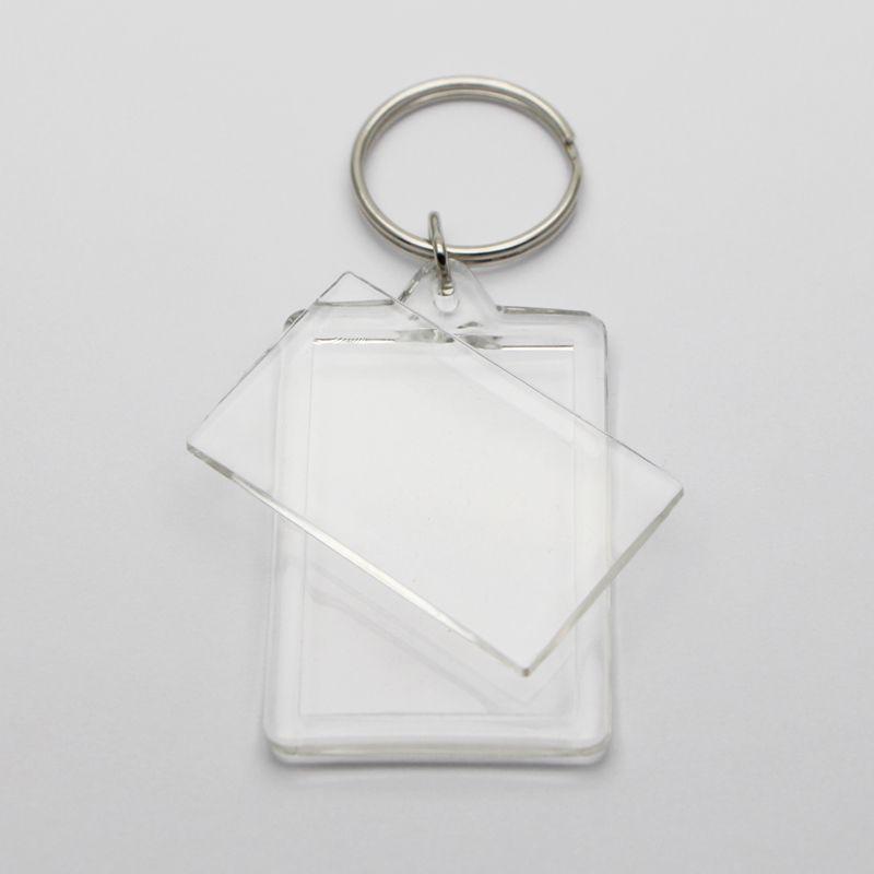 """빈 아크릴 직사각형 열쇠 고리 삽입 1.72 """"X 1.1""""사진 열쇠 고리 100X # KP01C 무료 배송"""