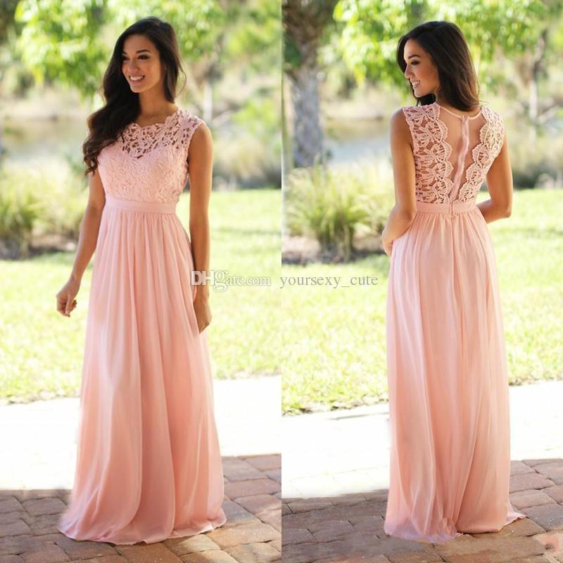 Vestidos de dama de honor largos de gasa de encaje rosa 2017 Vestidos de dama de honor baratos más tamaño por encargo Vea a través de vestidos de dama de honor gris azul de atrás