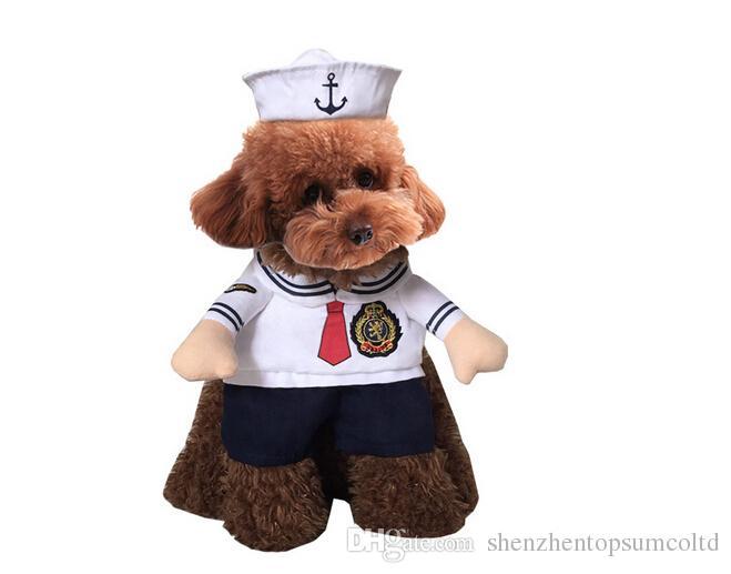 Nieuwe hete verkoop katten outfit matroos kleine honden puppy huisdier kostuum kleding grappige pak zeemans uniform cosplay kostuums kattenbenodigdheden