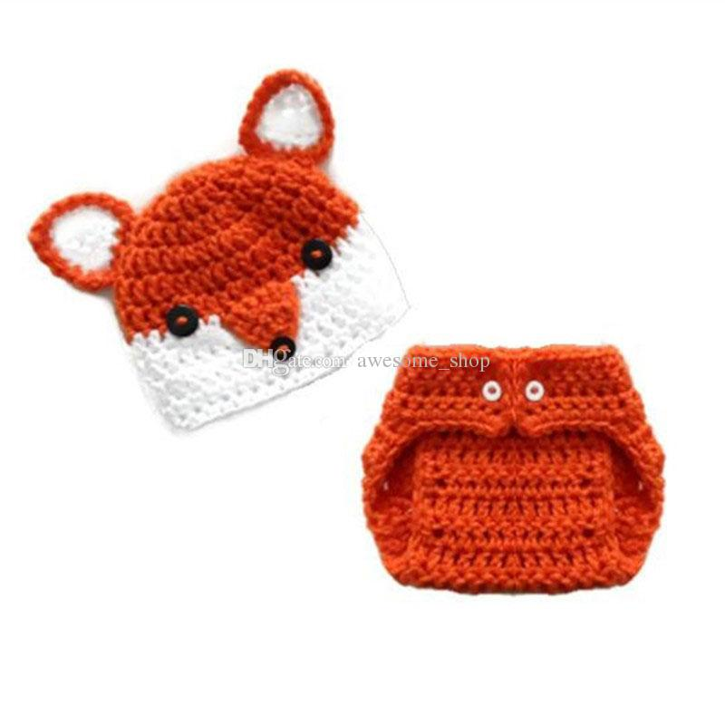 Adorable Fox Newborn Outfits,Handmade Crochet Baby Boy Girl Animal Beanie Hat and Diaper Cover Set,Halloween Costume,Infant Photo Prop
