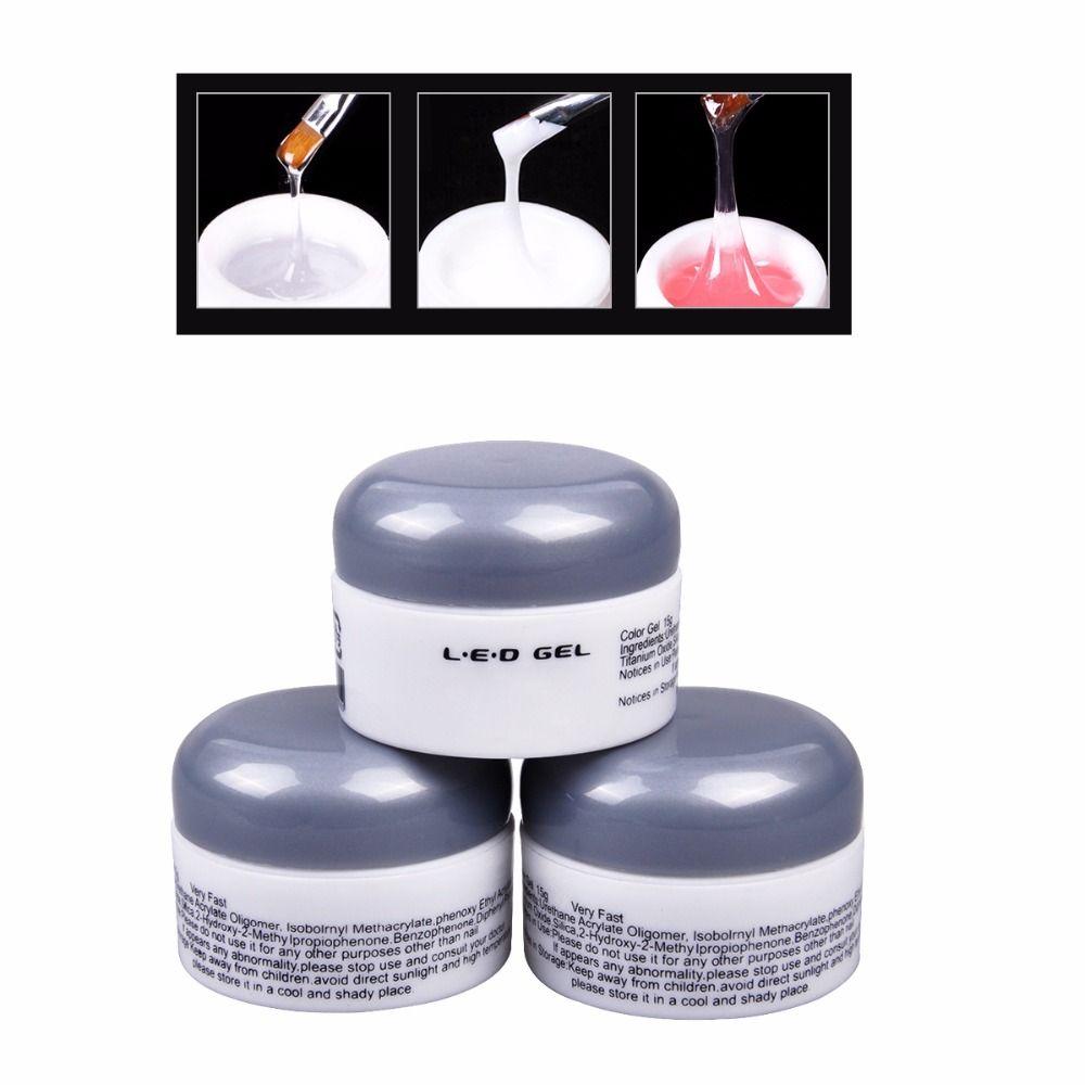 Toptan-5 ADET 15g Kapalı Soyma / Pembe / Beyaz Renk Oluşturucu UV LED Jel Nail Art Lake Manikür