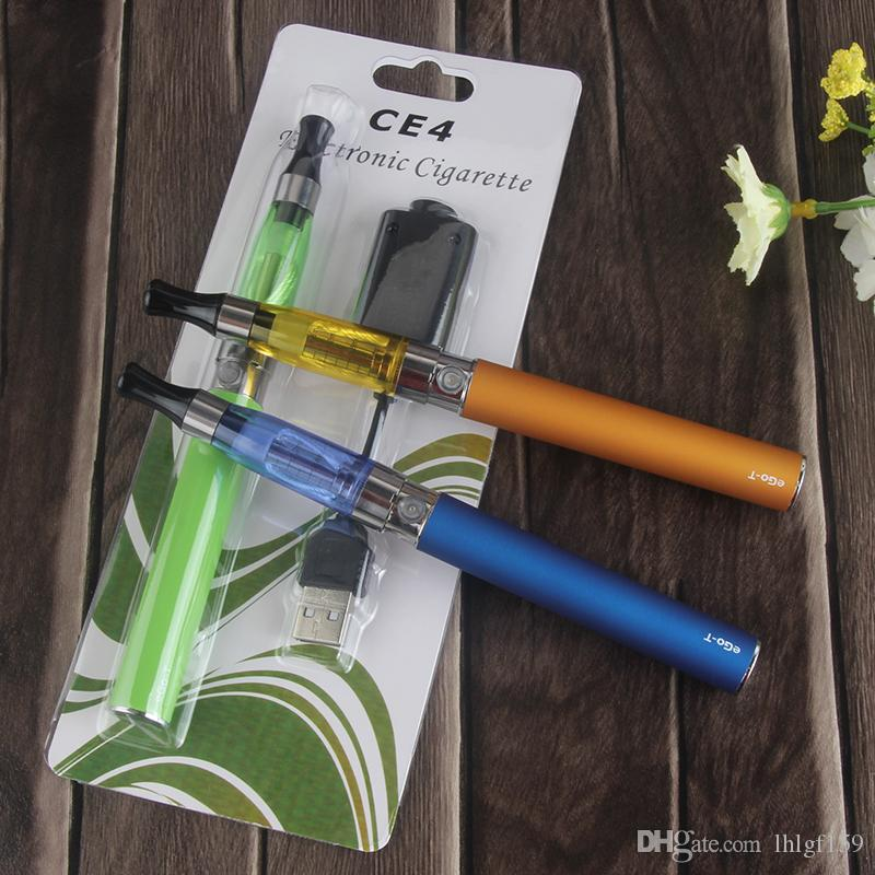 ego t kits cheap EGO KIT CE4 Atomizer blister pack kits 650mah 900mah 1100mah colourful ego battery 8 colors e-cig DHL Free shipping