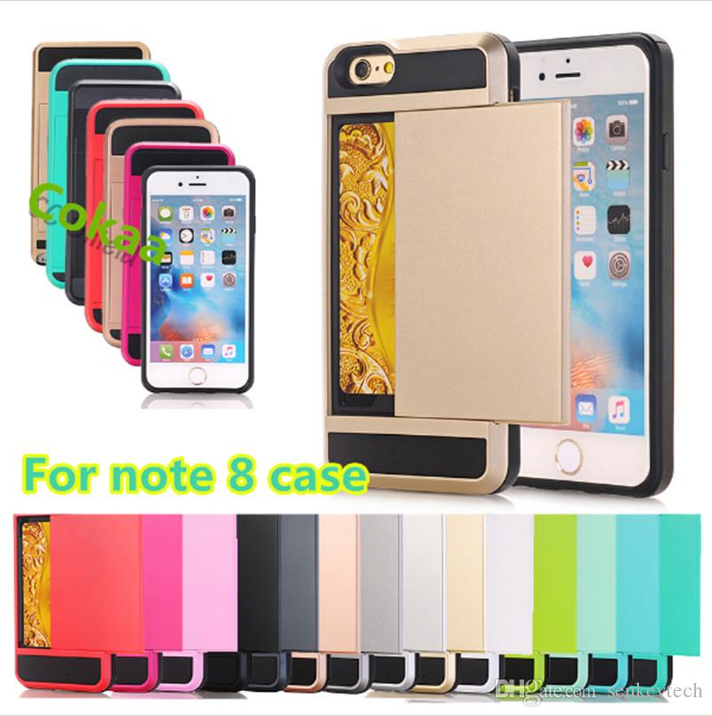 """Glissière De Luxe Porte-Carte De Crédit Fente Pour Carte De Poche Portefeuille Poche Etui Pour iPhone 8 note 8 s7 s6 5 5s 6 6s 4.7 '' 6 Plus 5.5 """"7plus 7"""