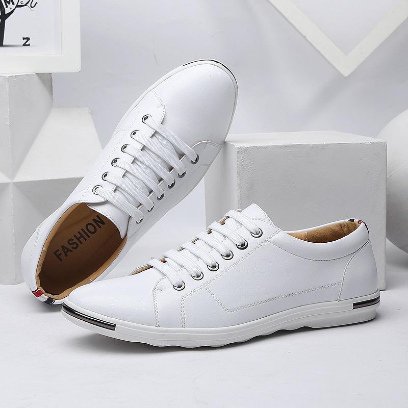 Britischen Stil Große Größe 48 Herren Freizeitschuhe Atmungsaktive Mode Lace-up Flats Schuhe Weiß Brand Design Casual Lederschuhe 2A