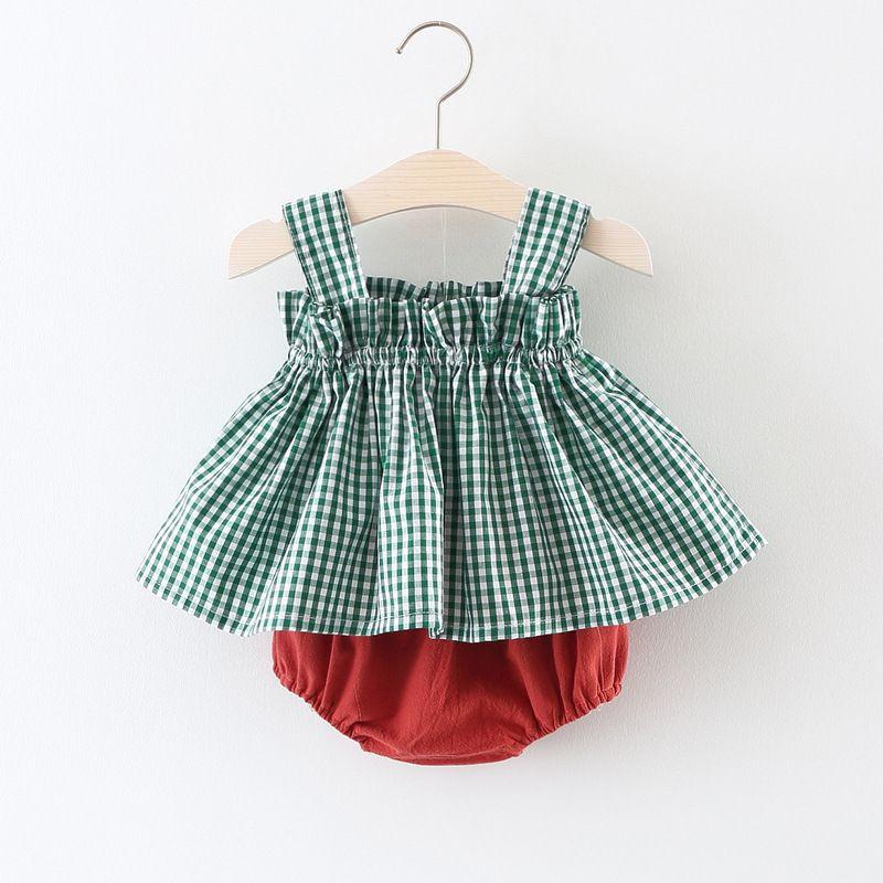 Summer Baby Girls 2Pcs Sets Plaid Sleeveless Vest Dress+Shorts Bloomers Kids Girls Outfits Baby Clothing Sets