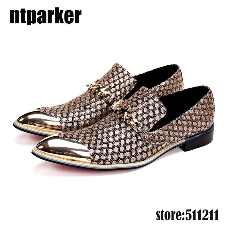 Moda fatta a mano da uomo in pelle scarpe da sera alto aumento degli uomini Business scarpe in metallo punta di metallo classico scarpe da uomo Zapatos Hombre