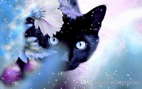 New diy diamond painting cross stitch kits resin pasted painting full square drill needlework Mosaic Home Decor animal black cat zf0242