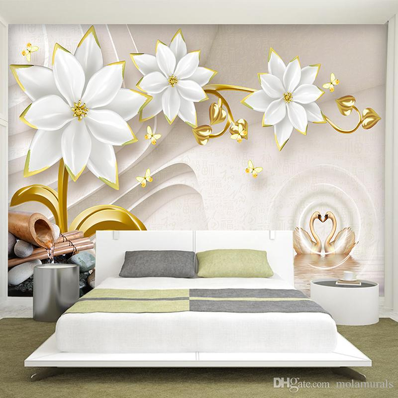 ... Custom Any Size Photo Background Wall Murals Soft Large Flower Wall  Covering BedRoom Wall Murals Modern ... Part 44
