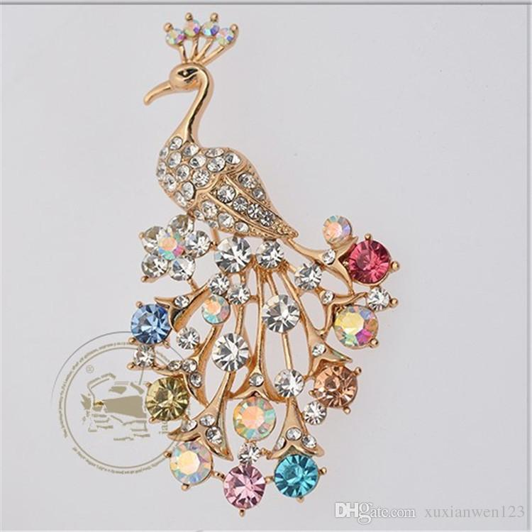 Elegant Big Crystal Dress Brooches Pin Wedding Party Jewelry Rose Gold Plated