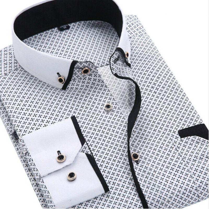 Männer Mode Casual Langarmes Hemd Slim Fit Male Social Business Kleid Hemd Marke Männer Kleidung Weiche Komfortable