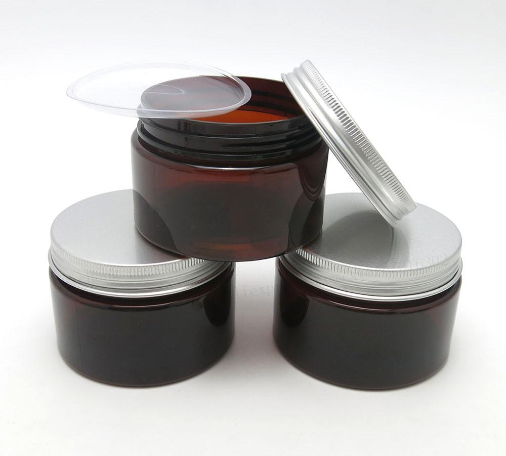 Flacon à crème de 4 oz en pot PET ambré de 20 x 120 g avec des couvercles en aluminium argenté et un coussinet intérieur