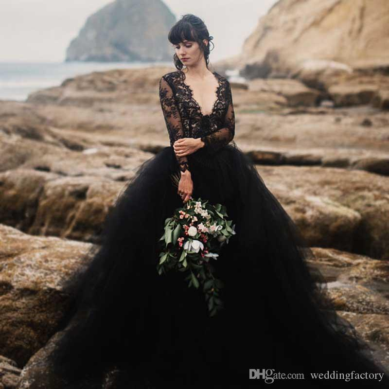 Discount Sexy 2019 Beach Black Wedding Dress Deep V Neck Illusion Long Sleeves Lace Top Tulle Skirt Gothic Backless Wedding Bridal Gowns Withtrain