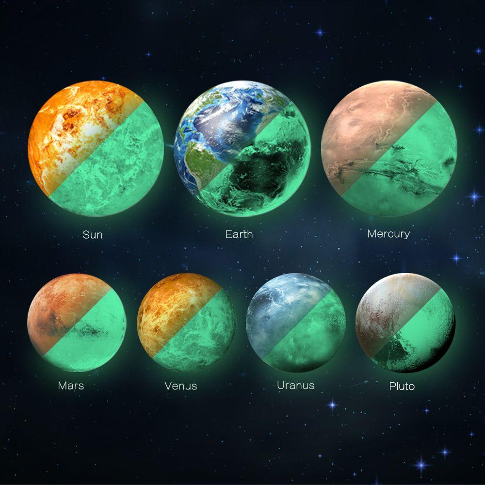 Großhandel 9 Teile / satz Sonnensystem Glowing Wall Stickers für Kinderzimmer Raum Planeten Wasserdichte Wandtattoo
